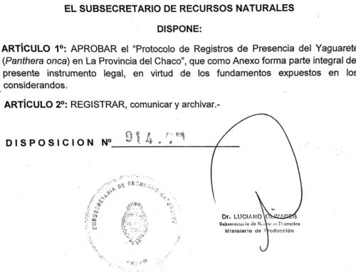 Protocolo de Registros de Presencia del Yaguareté en La Provincia del Chaco (Disposición 941)